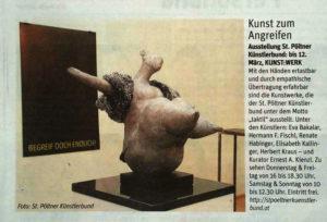 """Brigitte Saugstads und Ernest A. Kienzls Arbeiten in der Ausstellung """"taktil"""""""