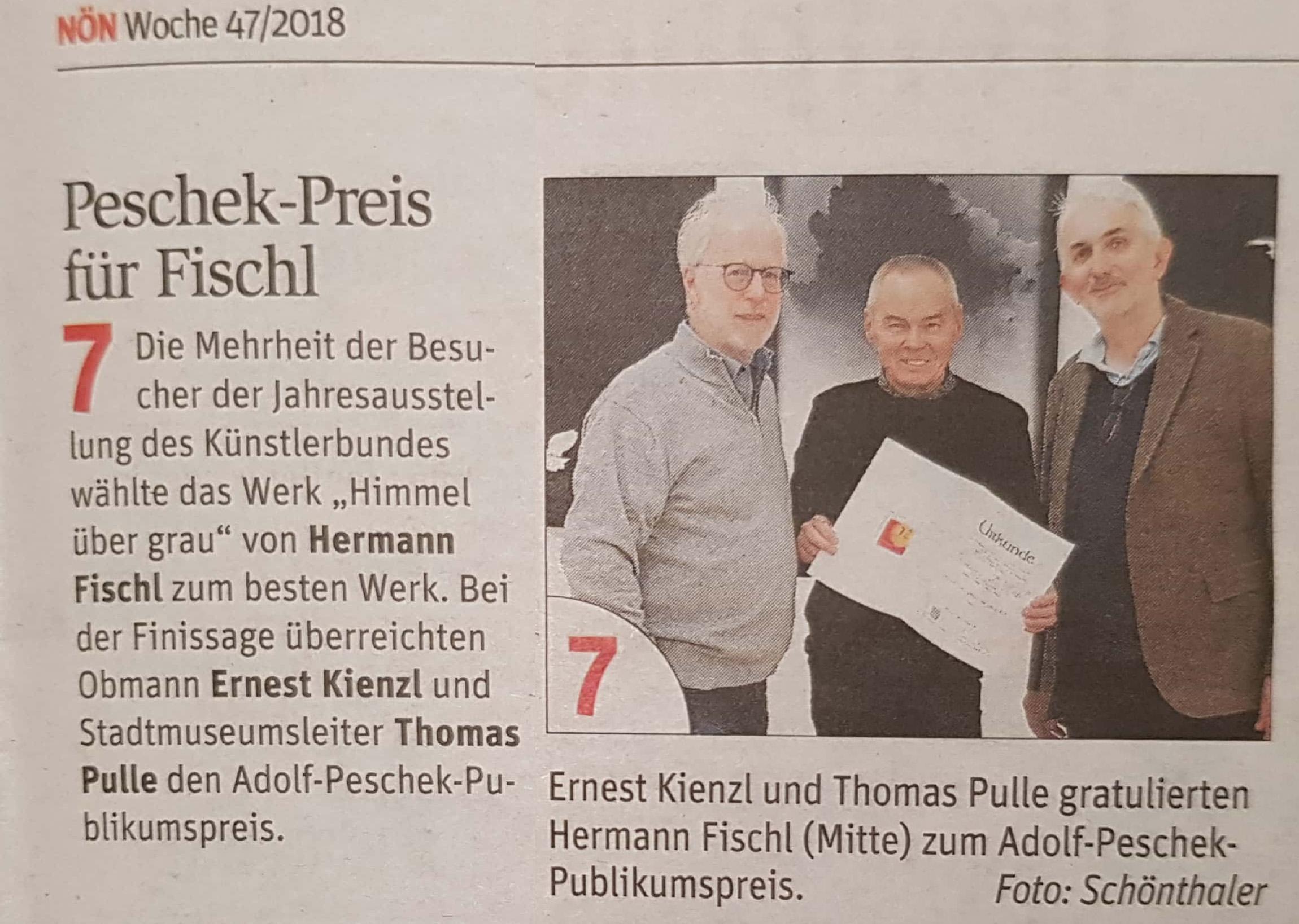 Fischl erhält Peschek Publikumspreis 2018