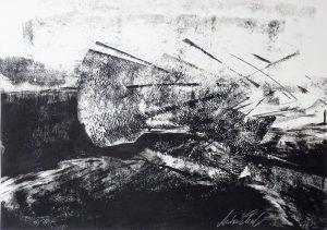 """Anton Ehrenberger; """"Erdgeschichte I"""", Japan-Aqua auf Papier, 50x41cm"""