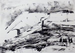 """Anton Ehrenberger; """"Erdgeschichte II"""", Japan-Aqua auf Papier, 50x41cm"""