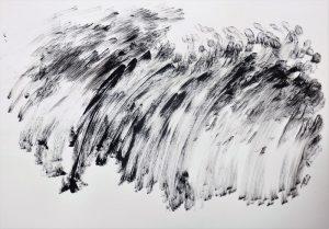 """Anton Ehrenberger; aus dem Zyklus """"Oberer Kamp"""" 2018, Tusche auf Papier, 42x29,5cm"""