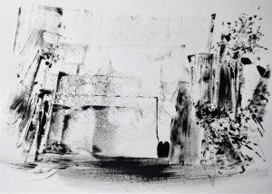 """Anton Ehrenberger, aus dem Zyklus """"Eisernes Tor"""" II, Tusche auf Papier, 84x60cm"""