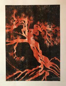 Hannelore Mann, Baum orange, Farbholzschitt